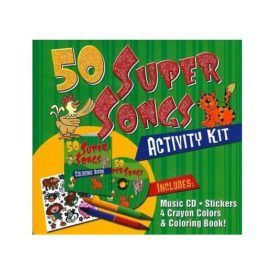 50 Super Songs Activity Kit Children's Music CD Stickers, Crayons, Coloring Book