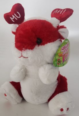 """SugarLoaf Toys Red & White Valentine's Mouse w/ Mu-Ah! Red Heart Headdress Plush 10"""""""