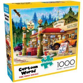 "Buffalo Games - Cartoon World - Pine Road Service - 1000 Piece Jigsaw Puzzle Red, Brown, Green, Yellow, 26.75""L X 19.75""W"