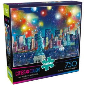 """Buffalo Games - Cities in Color - Manhattan Celebration - 750 Piece Jigsaw Puzzle, 24""""L X 18""""W"""