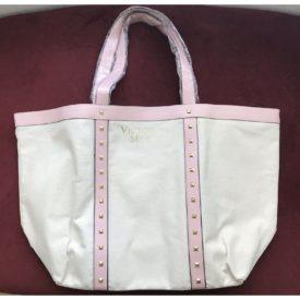 Victoria's Secret 2017 Large Canvas Tote Shoulder Bag Pink Studded Faux Leather