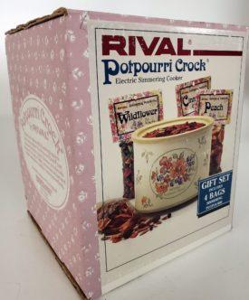 Vintage Rival Small Potpourri Crock Floral Design Electric Simmering Cooker Gift Set Model 3206GBT