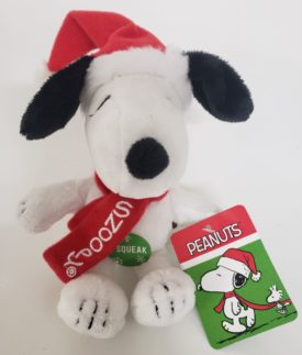 Peanuts Holiday Santa Hat Snoopy Dog Squeak Toy by DanDee