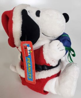 """Peanuts Holiday Snoopy Musical Plush Toy 8"""" Moves & Plays Santa Claus Is Coming To Town Tune"""