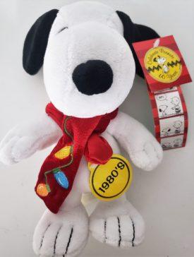 "Dan Dee 60 Years Snoopy Peanuts 1980's Christmas Scarf 9"" Plush Toy"
