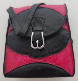 Miniature Purse Figurine - Hot Pink & Black Handbag w/ Silver Buckle