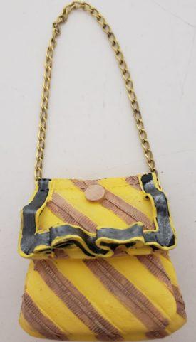 Miniature Purse Figurine - Yellow & Mauve Stripe Gold Chain Strap
