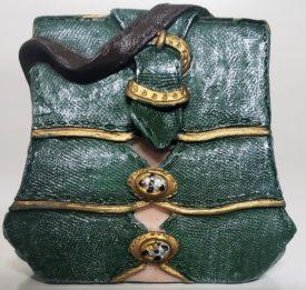 Miniature Purse Figurine - Green Handbag Goldtone Buttons