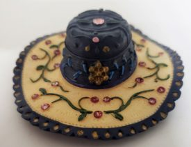 Miniature Ladies Sombrero Style Hat Figurine  - Navy Blue & Cream Rhinestone Leaf