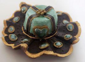 Miniature Ladies Sombrero Style Hat Figurine  - Black & Green Gold Trim