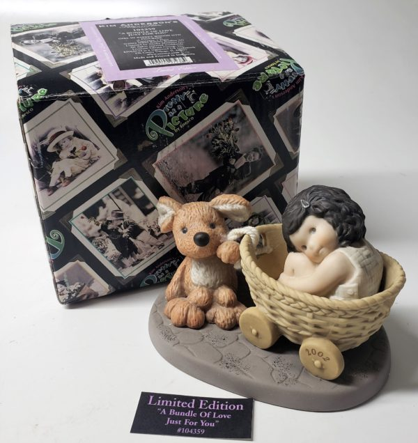 """Kim Anderson's Pretty As A Picture """"A Bundle of Love Just for You"""" Girl In Basket Wagon Figurine 104359"""