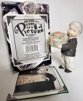 """Kim Anderson's Pretty As A Picture """"Wonderful Wishes Come Gift Wrapped"""" Boy w/Gift Ornament 201553"""