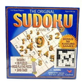 2005 The Original SUDOKU Game 100 Puzzles, Wood Playing Pieces, Sand Timer, Ages 8+