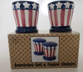 Americana Patriotic Uncle Sam Hat Red, White and Blue Salt & Pepper Shakers