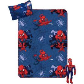 Marvel Spiderman Travel Set - 3 Piece Kids Travel Set Includes Blanket, Pillow, & Plush (Official Marvel Product)