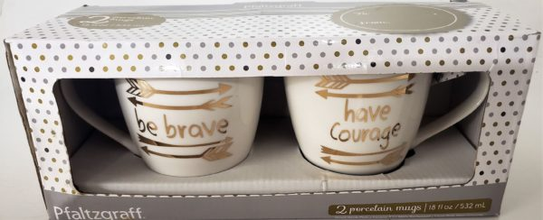 """Pfaltzgraff Porcelain Gift Mugs """"Be Brave"""" and """"Have Courage"""" Set of 2"""