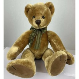 Russ Dunwell Poseable Bear Vintage Look Faux Mohair Green Bow Machine Washable