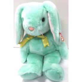 Ty Beanie Buddy - HIPPITY The Pastel Green Easter Bunny Yellow Ribbon +Gasport 1998 Plush