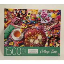 Milton Bradley Hasbro Embroidery Table 1500 Piece Jigsaw Puzzle Collage Time