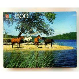"Vintage 1990 Milton Bradley York ""Horses By The Lake"" 1500 Piece Jigsaw Puzzle 4335-15"