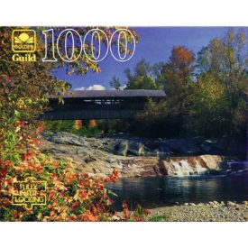 Vintage Golden Guild 1000 Piece Puzzle Covered Bridge Swiftwater, New Hampshire