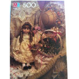 "Vintage Milton Bradley ""Antique Doll In Lace"" 500 Piece Jigsaw Puzzle"