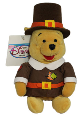Disney Store PILGRIM POOH - Winnie The Pooh Mini Bean Bag Plush Toy
