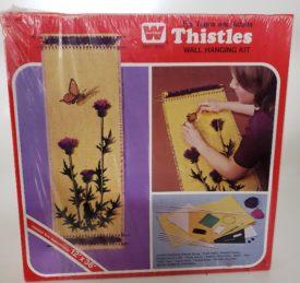 """Vintage 1973 Whitman Craft Series """"Thistles"""" Burlap Wall Hanging Kit No. 4960"""
