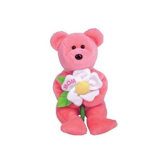 TY Beanie Baby Bear DEARLY Pink Bear White Mom Flower