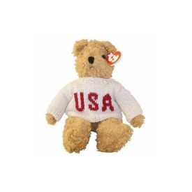 TY Classic Plush - BABY CURLY the Bear (USA Sweater) (11 inch)