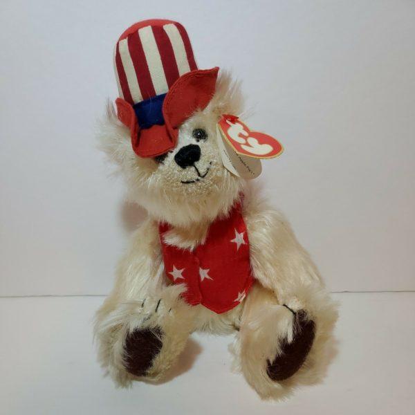 "Ty Attic Treasures Uncle Sam 10"" Jointed Plush Bear Patriotic 2000"