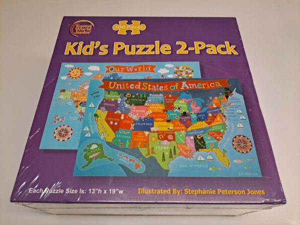 ROUND WORLD JUNIOR Kid's 100 Puzzle 2-Pack Our World / USA