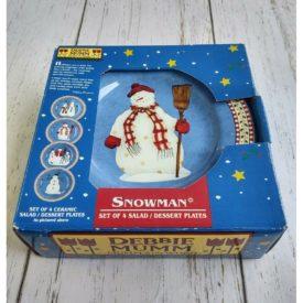 Debbie Mumm Snowman Dessert Plates, Set of 4