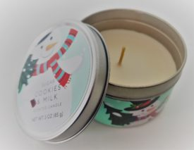 Holiday Scented Candle 3 oz. In Decorative Snowman Tin - Sugar Cookies & Milk
