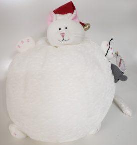 "Furballs Plump Chubby White Round Santa Cat 12"""